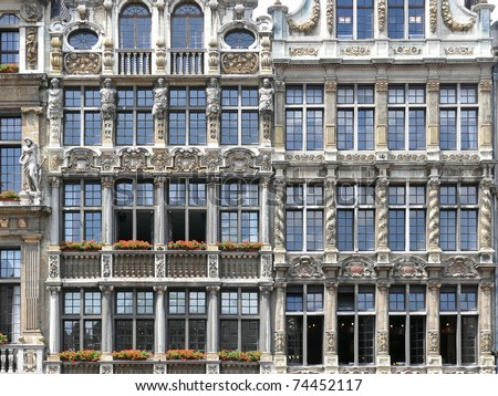 Close up of windows of famous guildhalls in Grote Markt in Brussels, Belgium. More of this motif & more Belgium & travel photos in my port. - stock photo