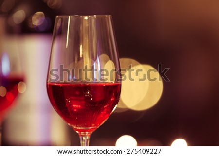 Close-up of wine glass. - stock photo