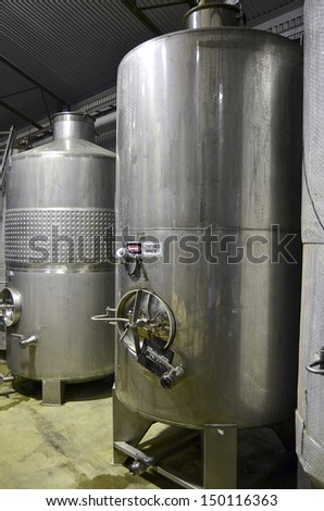 Close up of wine vats at a winery in the Adelaide Hills, South Australia. - stock photo