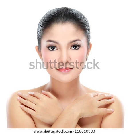 close up of woman beauty isolated over white background - stock photo