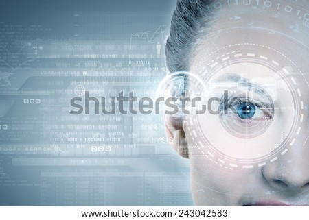 Close up of woman eye with digital icons - stock photo