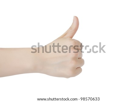 Close-up of  woman holding her thumb up on white background. - stock photo
