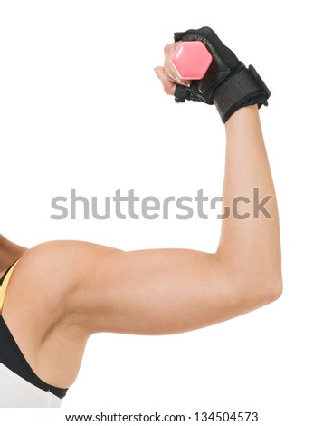 Close-up Of Woman's Hand Lifting Dumbbell Isolated On White Background - stock photo