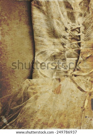 close up of woman wedding dress with texture overly , sepia tones.  - stock photo