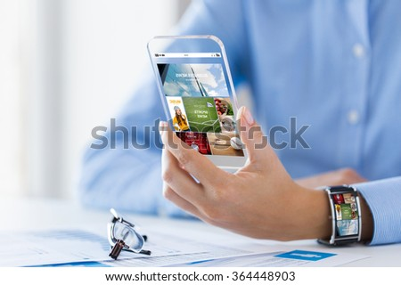 close up of woman with application on smartphone - stock photo