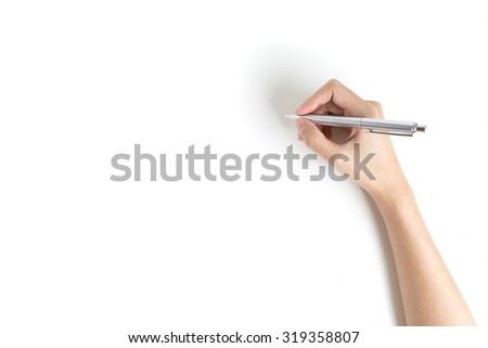Close up of women arm writing with metallic pen. Isolated on white background - stock photo