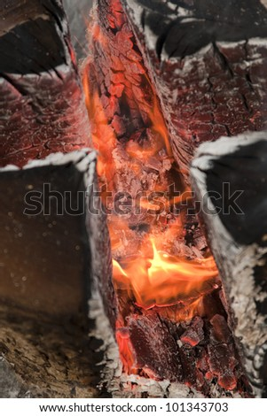 close-up of wood fire - stock photo