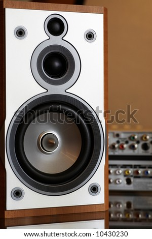 close-up of wooden hi-fi loudspeaker (shallow DOF on cone) - stock photo