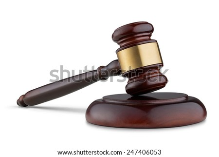 Close up of wooden judge gavel isolated on white background - stock photo