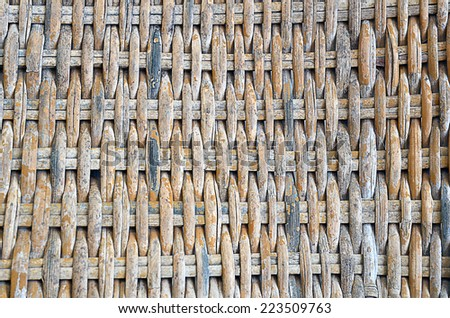 Close up of Woven rattan with natural patterns. Textured background. - stock photo