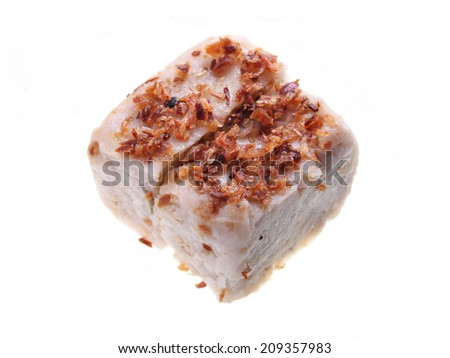 Close up of yam cake isolated on white background. - stock photo