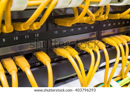 Close up of yellow network internet cables, patch cords connected to black switch, router in data center - stock photo