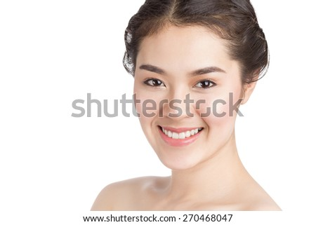 Close up of young Asian beautiful woman's face isolated on white background. - stock photo
