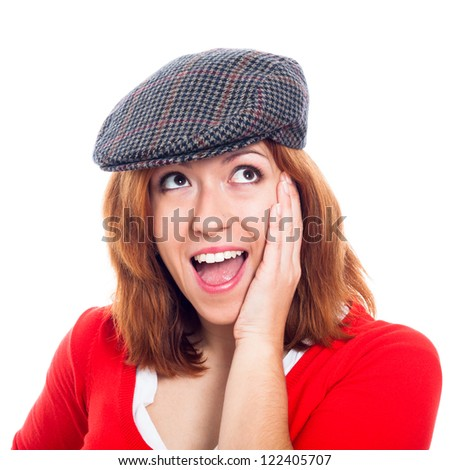 Close up of young beautiful ecstatic woman wearing hat, isolated on white background. - stock photo