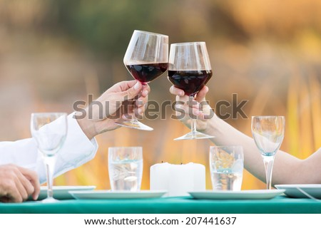 close up of young couple toasting with red wine - stock photo