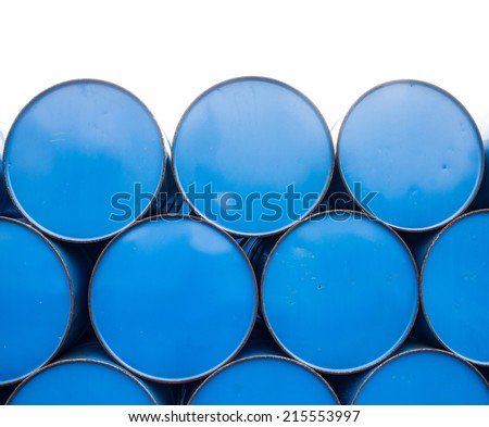 close up oil barrels or chemical drums stacked up - stock photo