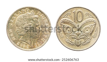 Close up old and dirty year 2000 New Zealand 10 Cents coin isolated on white - stock photo
