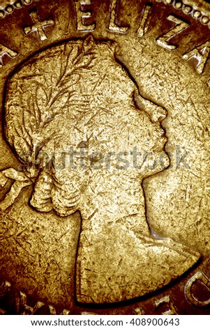Close up Old Coin - stock photo