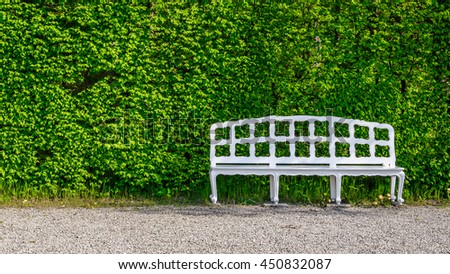 Close-up old retro white bench with carved shaped back in front of a green hedge on the walkway in the park, Germany - stock photo