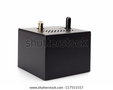 Close up old toy musical box isolated on white background - stock photo