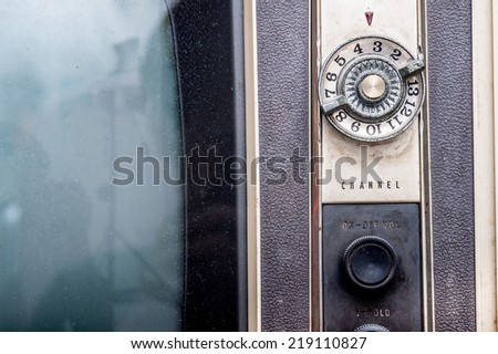 close up old TV on the isolated white background  - stock photo