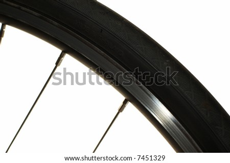 Close-up on a bicycle front wheel - stock photo