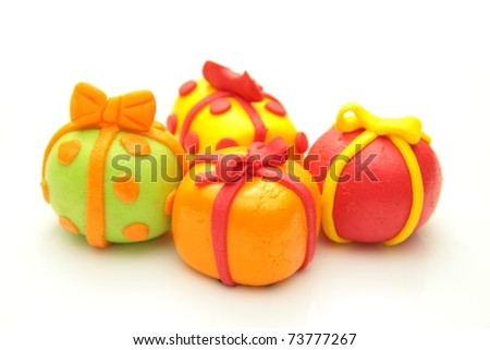 Close up on a bunch of present made from cooking sugar - stock photo
