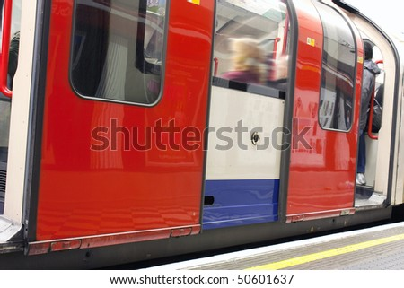 close up on a carriage of a underground train in london uk - stock photo