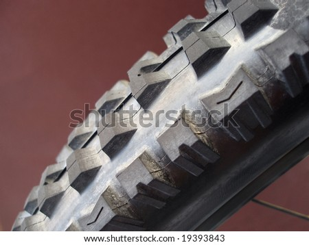 close up on a downhill mountain bike tyre - stock photo