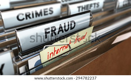 Close up on a file tab with the text fraud plus a note where it is handwritten internet frauds. Blur effect. Concept image for illustration of online scams or cybercrime. - stock photo