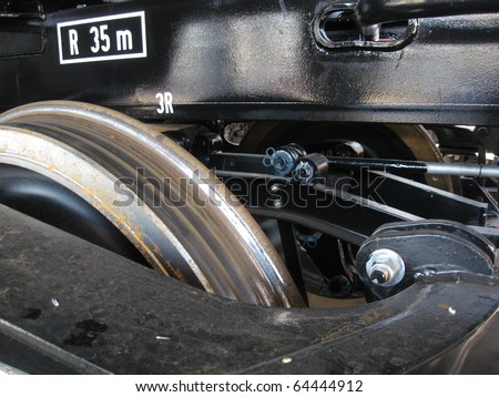 Close-up on a train wheel - stock photo