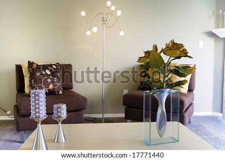 Close up on a Trendy Modern Living Room - stock photo