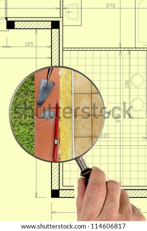 close-up on a wall materials - stock photo