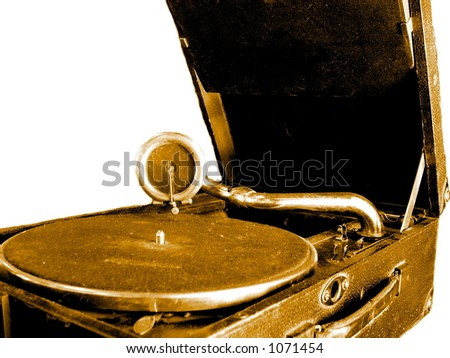 Close up on an old Gramophone. - stock photo