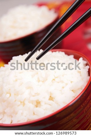 close up on bowl of rice - stock photo