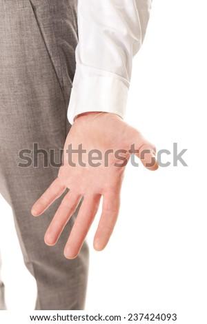 Close up on businessman empty hand. - stock photo