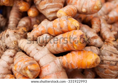 Close up on freshly uprooted turmeric. Turmeric is one of the main ingredients used in most Asian dishes.Image uses selective focusing, may apear blurry and for background purposes only. - stock photo