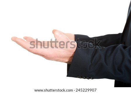 Close up on male open hands. - stock photo
