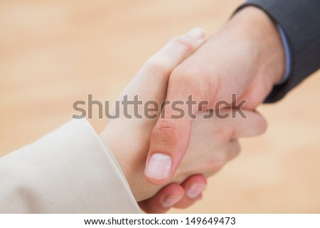 Close up on new partners shaking hands in bright office - stock photo