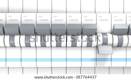 Close-up on several safety switches. One is OFF other are ON. - stock photo