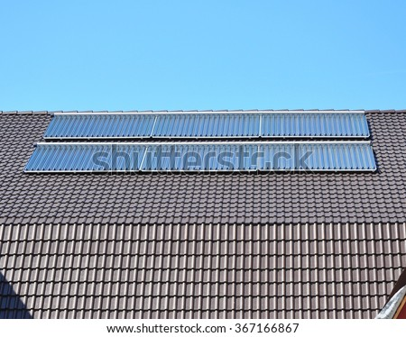 Close up on Solar panels. Solar Water Panels Heating. - stock photo