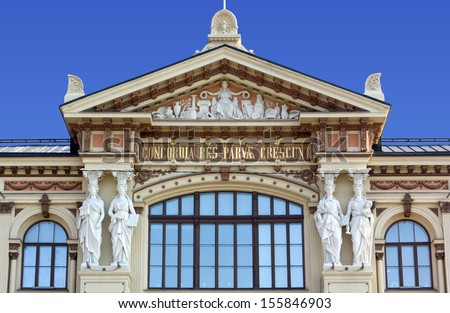 Close-Up on the Facade of Ateneum Art Museum in Helsinki - stock photo
