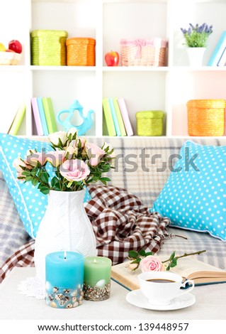 Close up on trendy modern living room - stock photo