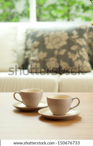 Close up on wood table in living room - stock photo