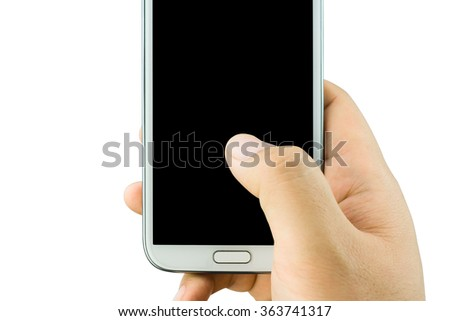 Close up One hand holding mobile .  mobile phone copy space isolated on white background. - stock photo