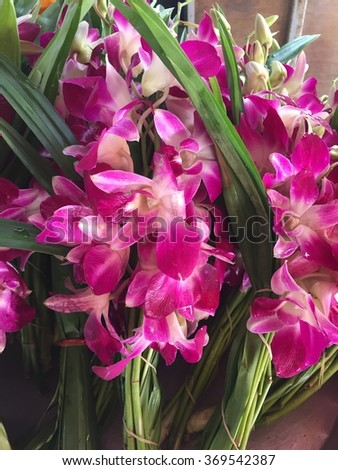 Close up orchid bouquet in Thai style, Asian violet orchids sells in local market, Thailand - stock photo
