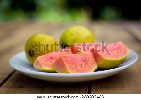 Close up organic pink guava in the garden - stock photo