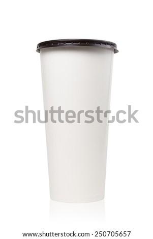 Close up paper coffee cup with brown cover isolated on white, Include clipping path. - stock photo
