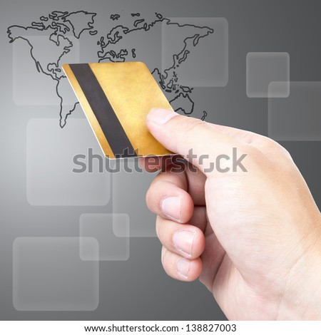 Close up Payment machine on during using Credit card from customer with white background - stock photo