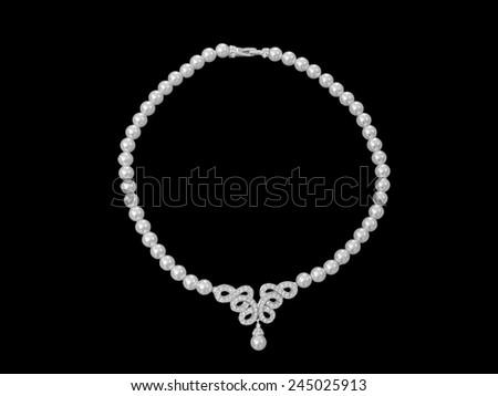 Close up pearl jewelry necklace isolated on black background - stock photo
